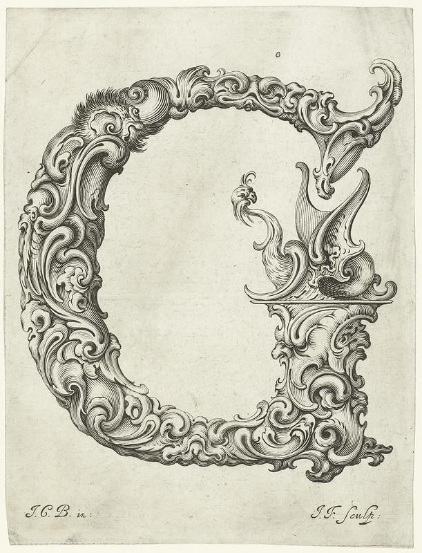 absurd, organic, ornamental Letter 'G' (Jan Chrystian Bierpfaff + Jeremiasz Falck, 1656)