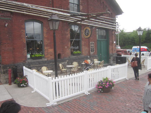 historic Distillery District, Balzacs coffee shop patio in the