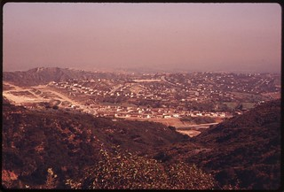 New housing encroaches on the Santa Monica Mountains off Mulholland Drive on the western edge of Los Angeles, May 1975