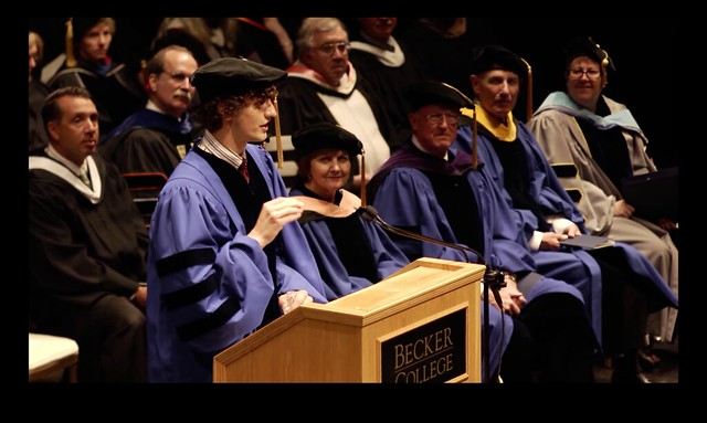 Dom Sagolla, co-creator of Twitter and co-founder of iOSDevCamp, addresses the Becker College graduating class of 2012.