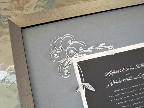 Quilled Wedding Invitation with Modern Scrolls