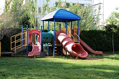 outdoor play equipment, playground slide, public space, playground,