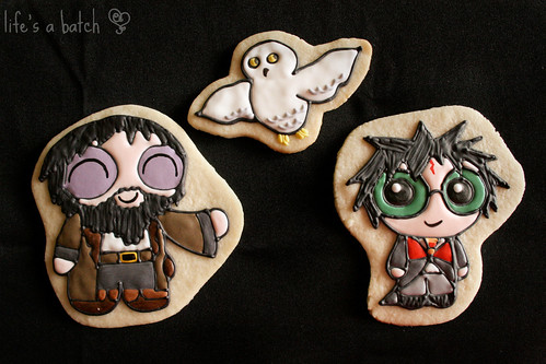 Hagrid, Hedwig & Harry Potterpuff Cookies.