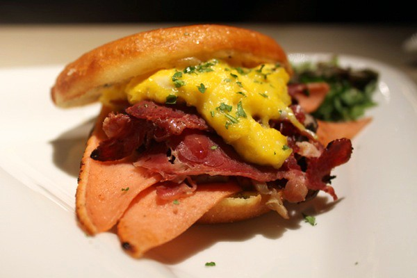 Loaded Doughnut Sandwich with Chicken Ham, Beef Bacon, Scrambled Eggs, Mushrooms & Cheddar Cheese