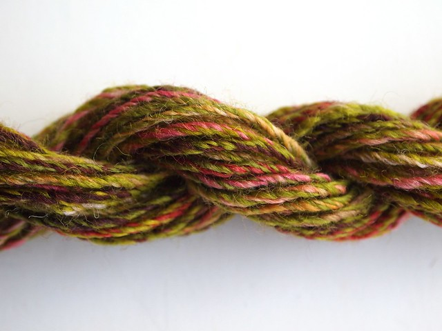 FCK-Old Rose & Leaf Eater, 2ply then chain plied-23yds