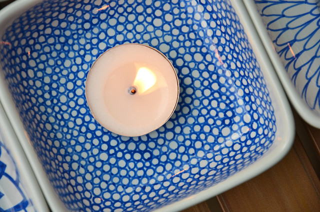 DIY hand-painted ceramic tealight holders
