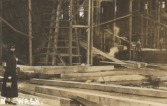 WA Aberdeen WA RPPC Circa 1920 Aberdeen Shipyard WOOD HULLED Ocean Steamer Freighter being constructed 3000 ships built in Aberdeen since 18118