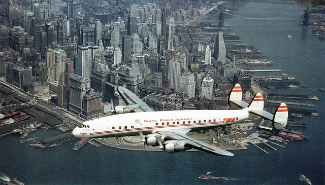 twa lockheed constillation over mahatten new york