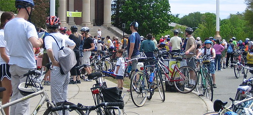 Cyclists gather at the Veteran's Memorial in Newton for a Rally in 2008