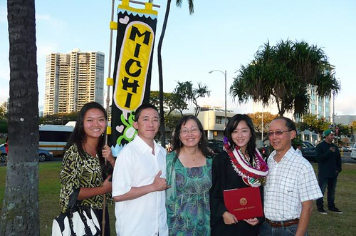 <p>Friends and family congratulate this UH West O'ahu graduate following commencement exercises on May 12</p>