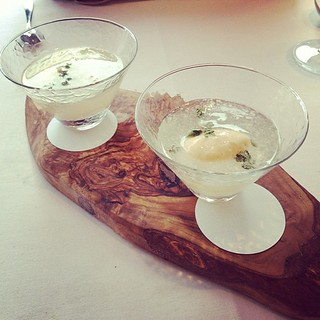 "Really fun, adam's ""elderflower-aid"" with lemon thyme ice cream as a 'float' @trinitylondon"
