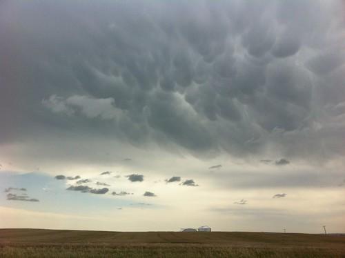 ominous bubbles northdakota prairie stormclouds