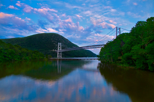 railroad trestle bridge trees sunset summer newyork nature water clouds train reflections landscape suspension rail bearmountain fortmontgomery