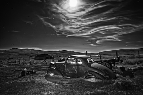 Old Studebaker by moonlight