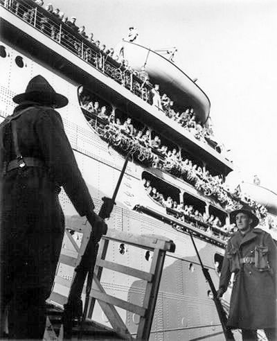 The US 1st Marine Division arrives in Wellington aboard the USS Wakefield on 14 June 1942.