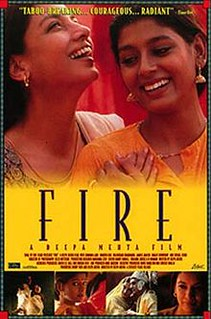 The poster for Fire. It features the two main women smiling and laughing next to one another.