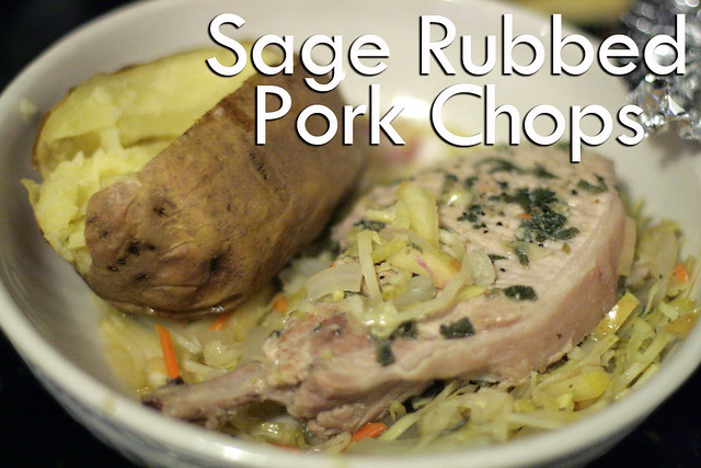 ... hearty Sage Rubbed Pork Chops with Warm Apple Slaw , sage gets both