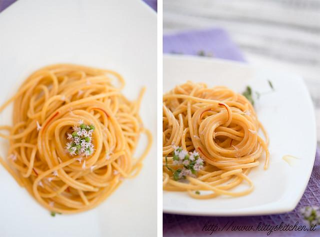 spaghetti con zafferano e fiori