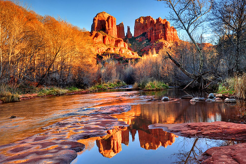 winter sunset red arizona cold colour reflection river stream sedona cathedralrock i mygearandme northernstraitsphotography