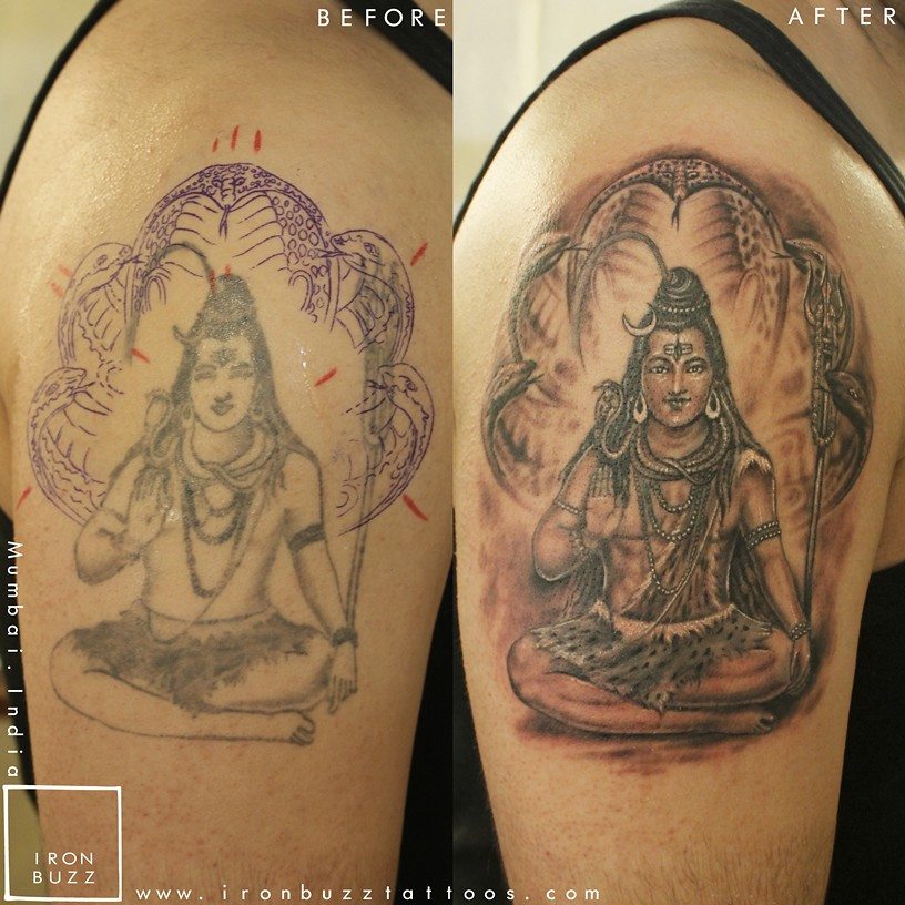 Iron Buzz Tattoos Andheri Mumbai: Lord-shiva-shankar-indian-mythology-religious-tattoo-on