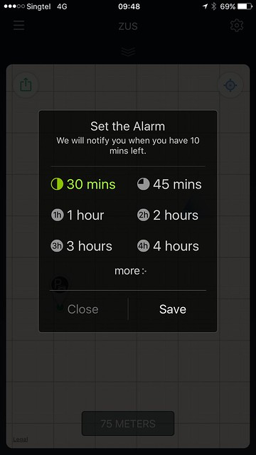 ZUS iOS App - Set Parking Alarm