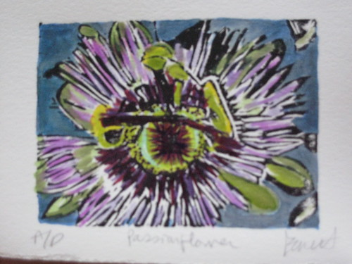 Passionflower - original woodblock print