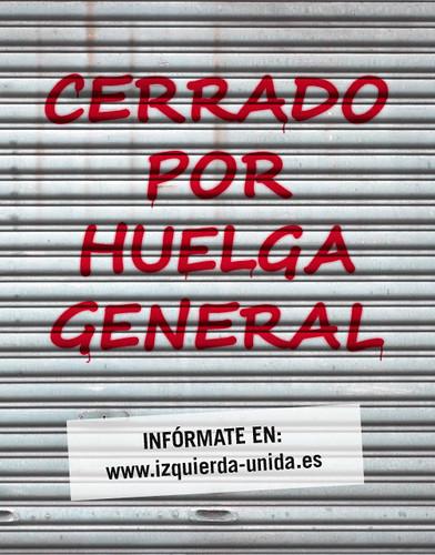 Cartel cerrado por Huelga General