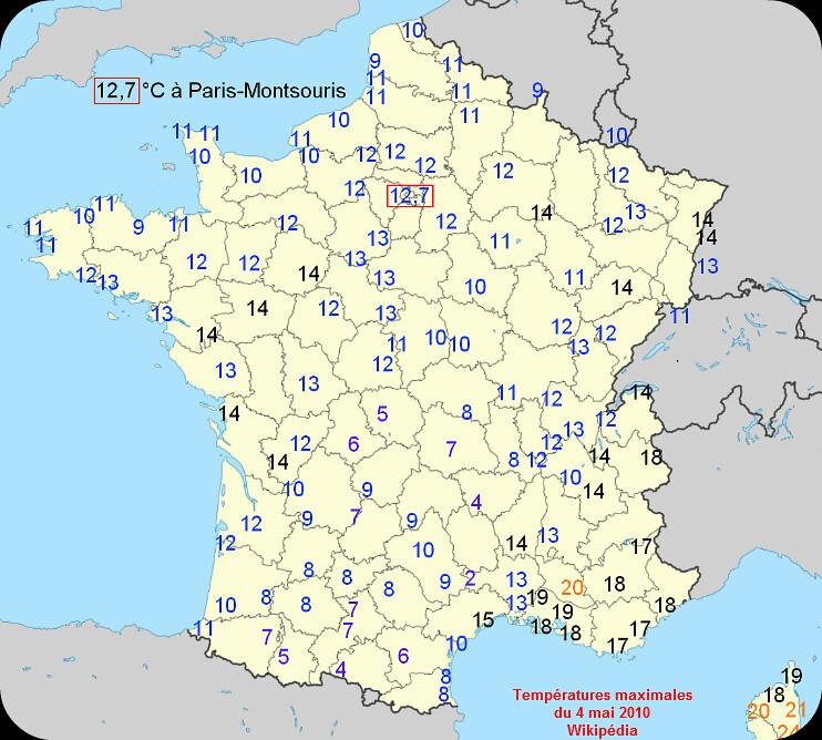 températures maximales et records de fraîcheur le 4 mai 2010 météopassion
