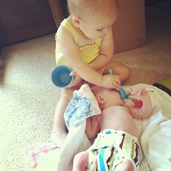 Giving sister pretend spoonfuls :)