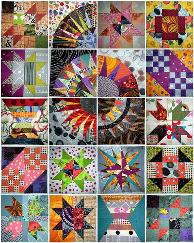 BOM Blocks - 20 done!  From the Quilter's BOM, the New York Beauty QAL, and my own personal mariner's compass experiments