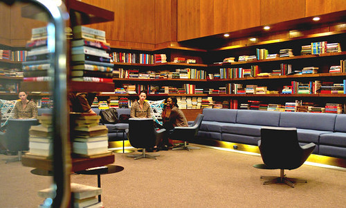 Residents gather in the library of Toren condominium in downtown Brooklyn