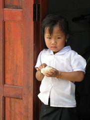 Beautiful child in doorway