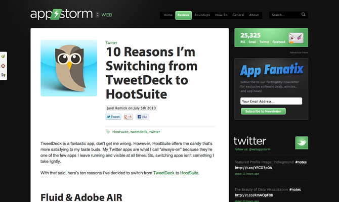 Appstorm's '10 Reasons I'm switching from Tweetdeck to Hootsuite'.