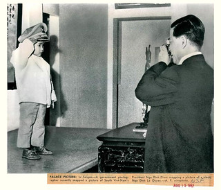 Aug 15,1963 - South Vietnam President Ngo Dinh Diem saluted by niece.