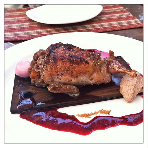 Wine Cask: Quail w/ stuffing and Blackberry Sauce
