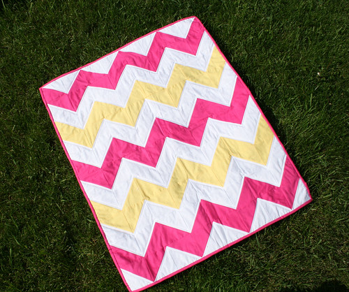Pink & Yellow Chevron Quilt