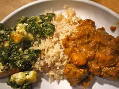 Saag paneer, spiced rice, lamb vindaloo