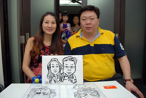 caricature live sketching for a birthday party - 2