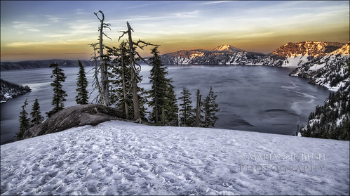 sunset lake mountains oregon volcano crater craterlake hdr 3exp snshdr