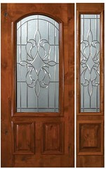 New Orleans Decorative Glass Arch Lite Knotty Alder Entry Door  Tall 80 E06142-G