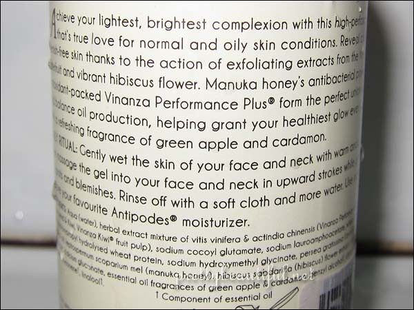 Antipodes Juliet Skin-Brightening Gel Cleanser Ingredients