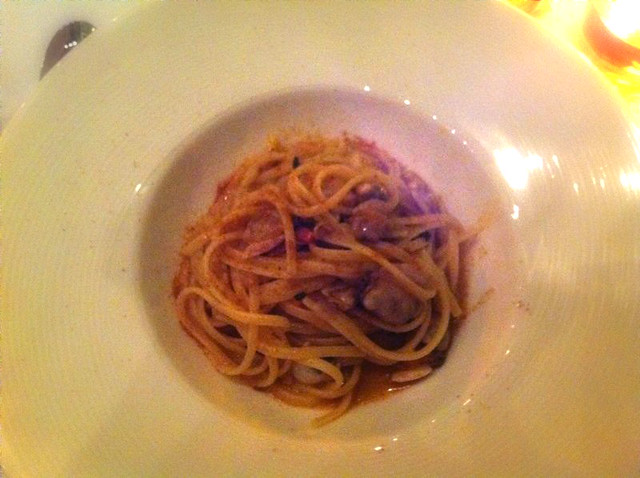 Linguini with clams, sea urchin and Bottarga, PepeNero