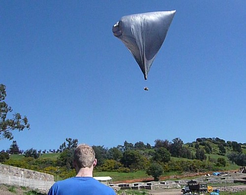 flying a solar hot air balloon in Oakland, 2009