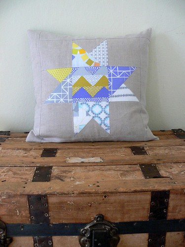 Quilted Star Pillow Cover in Grey and Lavender by Jenny Bartoy