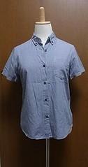 黒ギンガムチェックの半袖ボタンダウンシャツ