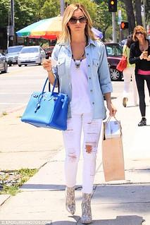 Ashley Tisdale Denim Shirt Celebrity Style Woman's Fashion