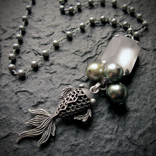 Goldfish & Micronesian Pearl Necklace by *Caran*