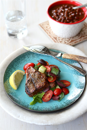 Greek Grilled Lamb Chops Recipe with Tomato, Cucumber & Kalamata Olive Salad