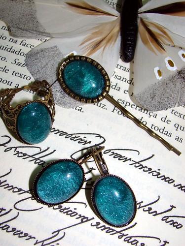 Anel, brincos e gancho vintage verde azulado by kideias - Artesanato