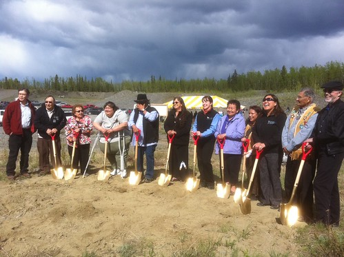 """Members of the community stand """"shovel ready"""" at the Tazlina groundbreaking. (Photo by Rural Development State Director Jim Nordlund)"""